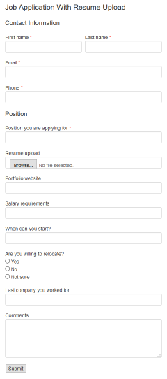 job application with resume upload form pro example