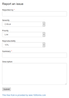 Report An Issue form example