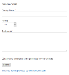 HTML code for Testimonial form