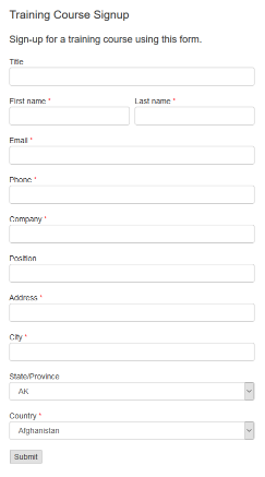 Training Course Signup form example