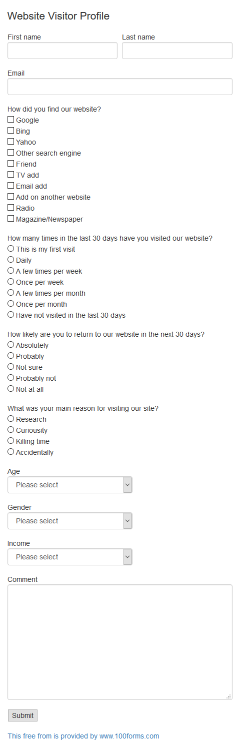 Website Visitor Profile form example